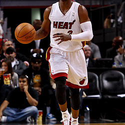 March 3, 2011; Miami, FL, USA; Miami Heat shooting guard Dwyane Wade (3) during the first half against the Orlando Magic at the American Airlines Arena. The Magic defeated the Heat 99-96.    Mandatory Credit: Derick E. Hingle