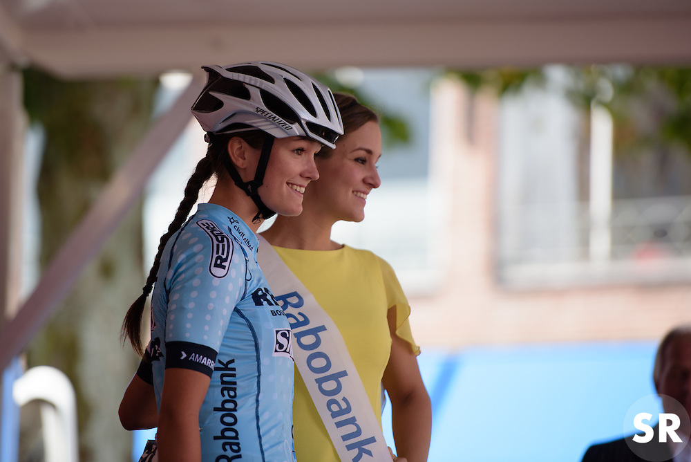 A lonely day for Nina Buysman, the only Restore Cycling rider remaining for the 116 km Stage 5 of the Boels Ladies Tour 2016 on 3rd September 2016 in Tiel, Netherlands. (Photo by Sean Robinson/Velofocus).