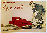 Let's Do It' 1944 poster in Soviet Social Realism style by I Serebriany.  Female bricklayer with a load of bricks.