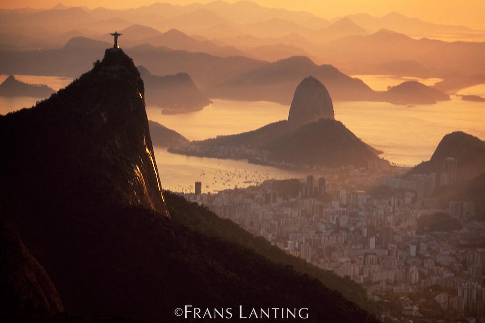 Jesus statue overlooking Rio de Janeiro (aerial), Brazil