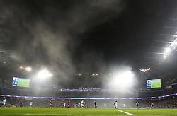 A general view during play as fog pours into the Etihad Stadium - Mandatory by-line: Matt McNulty/JMP - 16/12/2017 - FOOTBALL - Etihad Stadium - Manchester, England - Manchester City v Tottenham Hotspur - Premier League