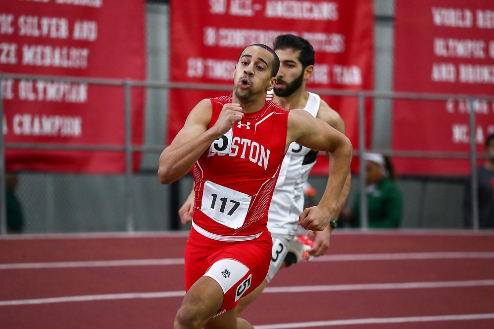 mens 400 meters, BU, Nikolas Smith<br /> Boston University Scarlet and White<br /> Indoor Track & Field, Bruce LeHane