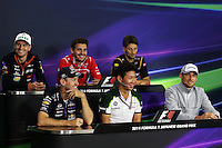 The FIA Press Conference (from back row (L to R)): Nico Hulkenberg (GER) Sahara Force India F1; Jules Bianchi (FRA) Marussia F1 Team; Romain Grosjean (FRA) Lotus F1 Team; Sebastian Vettel (GER) Red Bull Racing; Kamui Kobayashi (JPN) Caterham; Jenson Button (GBR) McLaren. <br /> Japanese Grand Prix, Thursday 2nd October 2014. Suzuka, Japan.