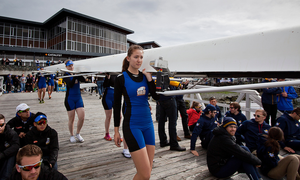 The University of British Columbia UBC reserve Womens rowing crew finished second to the University of Victoria Uvic Womens reserve rowing crew in the 2014 Brown Cup challenge duel race held along the Gorge Waterway in Victoria British Columbia Canada. Photograph by: KEVIN LIGHT.