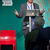 Duncan Clark on stage at the Edinburgh International Book Festival 2013. <br /> 24 August 2013. <br /> <br /> Photograph by Chris Scott/Writer Pictures <br /> WORLD RIGHTS