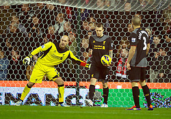 26.12.2012, Britannia Stadion, Stoke on Trent, ENG, Premier League, Stoke City vs FC Liverpool, 19. Runde, im Bild Liverpool's goalkeeper Jose Reina and Daniel Agger look dejected as Stoke City score the first equalising goal to level the scores at 1-1 during the English Premier League 19th round match between Stoke City FC and FC Liverpool at the Britannia Stadium, Stoke on Trent, Great Britain on 2012/12/26. EXPA Pictures © 2012, PhotoCredit: EXPA/ Propagandaphoto/ David Rawcliffe..***** ATTENTION - OUT OF ENG, GBR, UK *****
