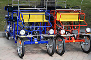 Four wheel sightseeing tourist carts. Svenskarnas Dag Swedish Heritage Day Minnehaha Park Minneapolis Minnesota USA