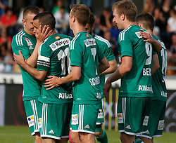 31.05.2015, Stadion Wolfsberg, Wolfsberg, AUT, 1. FBL, RZ Pellets WAC vs SK Rapid Wien, 35. Runde, im Bild v.l. den Jubel von Louis Schaub (SK Rapid Wien), Philipp Schobesberger (SK Rapid Wien), Robert Beric (SK Rapid Wien) und Steffen Hofmann (SK Rapid Wien) // during the Austrian Football Bundesliga 35th Round match between RZ Pellets WAC and SK Rapid Vienna at the Stadium Wolfsberg in Wolfsberg Austria on 2015/05/31, EXPA Pictures © 2015, PhotoCredit: EXPA/ Wolfgang Jannach
