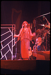 Yes performing at the New Haven Coliseum on 9 August 1977. Jon Anderson. Credit Photograph: James R Anderson, New Haven CT