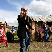 Pro-Putin Nashi youths dress as political opponents in a theatre mocking them during a summer camp on Lake Seliger in Russia. In the foreground is exiled oligarch Boris Berezovsky. The yearly camp, organised by the nationalistic group, trains youth in political activism.