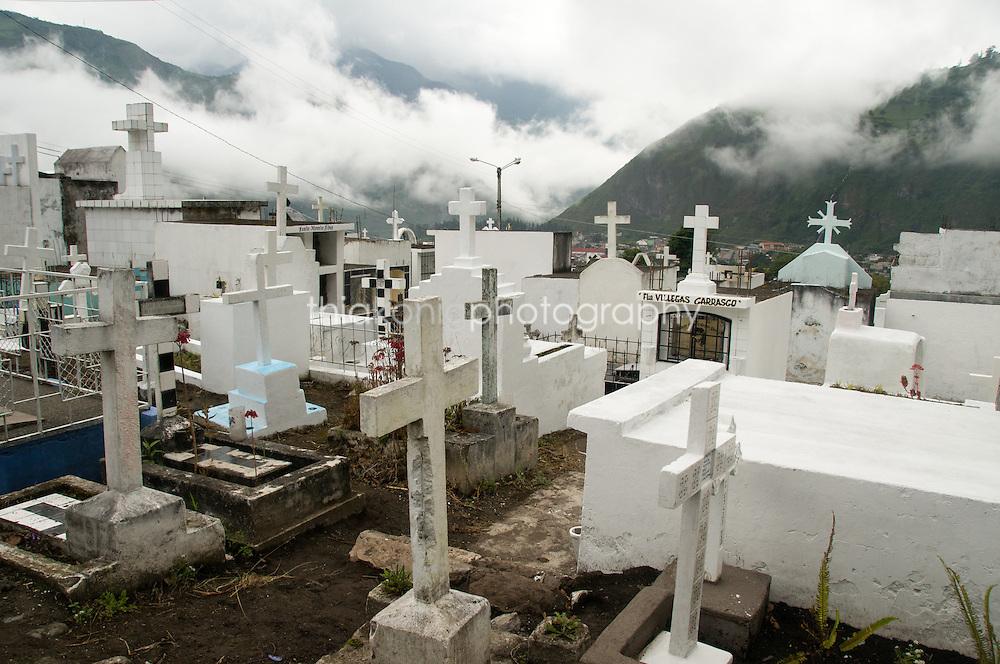 Cemetery in the mist, Banos, Ecuador