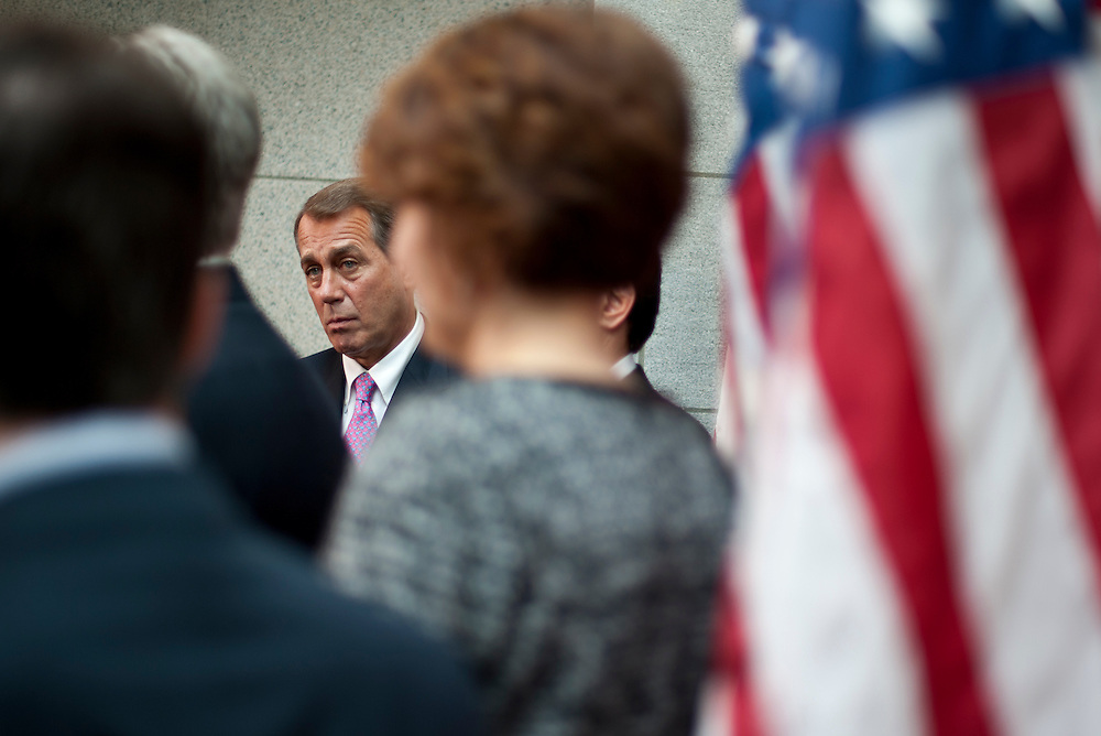 Speaker of the House JOHN BOEHNER (R-OH) and the House Republican Leadership speaks to the media about President Obama's upcoming speech on his Budget proposal for FY2012.