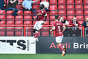 Goal - Famara Diedhiou (9) of Bristol City celebrates scoring a goal to make the score 2-1 during the EFL Sky Bet Championship match between Bristol City and Hull City at Ashton Gate, Bristol, England on 21 April 2018. Picture by Graham Hunt.