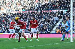 Nottingham Forest's Henri Lansbury scores an own goal to make it 1 0 - Photo mandatory by-line: Dougie Allward/JMP - Mobile: 07966 386802 - 17/01/2015 - SPORT - Football - Derby - iPro Stadium - Derby County v Nottingham Forest - Sky Bet Championship