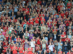 Bristol City fans applaud on the 54th minute to pay their respects to Mark Saunders who sadly passed away - Photo mandatory by-line: Dougie Allward/JMP - Mobile: 07966 386802 - 27/09/2014 - SPORT - Football - Bristol - Ashton Gate - Bristol City v MK Dons - Sky Bet League One