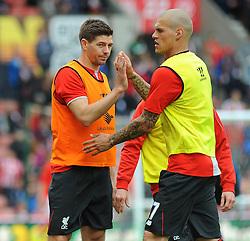 Liverpool's Steven Gerrard and Liverpool's Martin Skrtel - Photo mandatory by-line: Nizaam Jones/JMP - Mobile: 07966 386802 - 24/05/2015 - SPORT - Football - Stoke - Britannia Stadium - Stoke City v Liverpool - Barclays Premier League