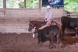 September 23, 2017 - Minshall Farm Cutting 5, held at Minshall Farms, Hillsburgh Ontario. The event was put on by the Ontario Cutting Horse Association. Riding in the $25,000 novice Horse Non-Pro Class is Joe Hudon on Little Zack Lena owned by the rider.