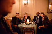 "Photo by Matt Roth.Assignment ID: 10137379A..Charlayne Hunter-Gault calls to U.N. Ambassador Susan rice during an inaugural ""Bi-Partisan Celebration"" flanked by one of the party's hosts Vernon Jordan. ..Buffy and Bill Cafritz, Ann and Vernon Jordan, Vicki and Roger Sant threw  at the Dolley Madison Ballroom at the Madison Hotel in Washington, D.C. on Monday, January 21, 2013."