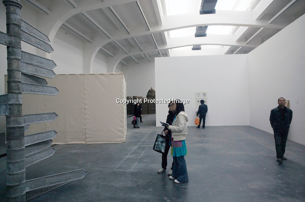 """BEJING, MARCH 22, 2008:  the opening of  the<br /> """" House of Oracles"""" , by Chinese superstar Huang Yonging. The House of oracles is the artists'  first retroperspective in China since he left China in the late eighties."""