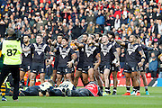 Haka  during the Ladbrokes Four Nations match between Australia and New Zealand at Anfield, Liverpool, England on 20 November 2016. Photo by Craig Galloway.
