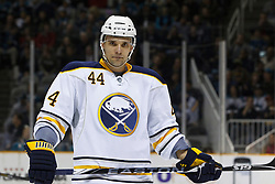January 6, 2011; San Jose, CA, USA; Buffalo Sabres defenseman Andrej Sekera (44) before a face off against the San Jose Sharks during the first period at HP Pavilion. Buffalo defeated San Jose 3-0. Mandatory Credit: Jason O. Watson / US PRESSWIRE