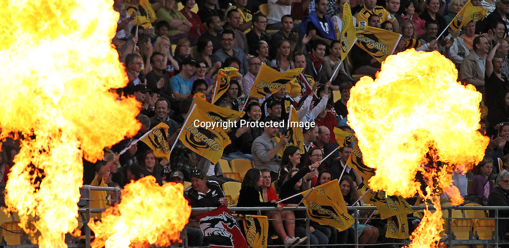 Fans enjoying the show during Super Rugby match, Hurricanes V Crusaders at Westpac Stadium, Wellington, Friday 8 March 2013. Photo.: Grant Down / photosport.co.nz