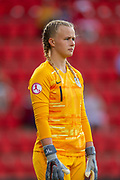 Goalkeeper Hannah Hampton (#1) of England during the UEFA Women's U19 Championship match between England Women and Germany at McDiarmid Stadium, Perth, Scotland on 16 July 2019.