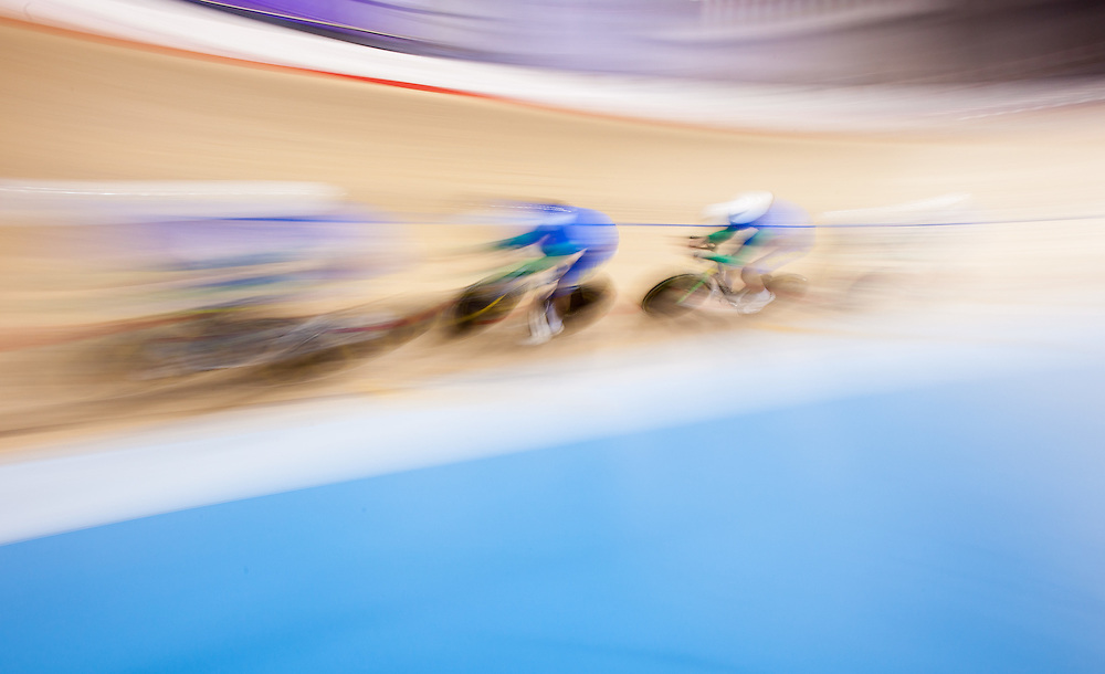 The Brazilian team races in the 1st round race in the men's cycling team pursuit  at the 2015 Pan American Games in Toronto, Canada, July 18,  2015.  AFP PHOTO/GEOFF ROBINS