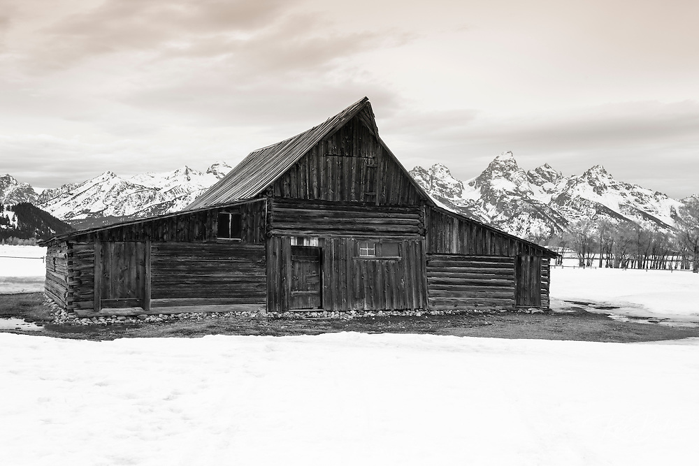 Moulton Barn and Tetons in winter, Grand Teton National Park, Wyoming USA