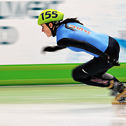 February 13, 2009 - 2010 Winter Olympics - Vancouver, Canada - Alyson Dudek competes in 3000m Women's Relay event during Short Track Speed Skating preliminary competition held at the Pacific Coliseum during the 2010 Winter Olympic Games.
