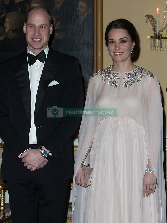 February 1, 2018 - Oslo, Norway - Image licensed to i-Images Picture Agency. 01/02/2018. Oslo, Norway. The Duke and Duchess of Cambridge  at a dinner held at the Royal Palace  in Oslo on day three of the Royal Tour to Sweden and Norway. (Credit Image: © Stephen Lock/i-Images via ZUMA Press)