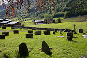 Cemetary at the Hopperstad Stave Church near Vik, Norway. Built in 1140, Norway's second oldest stave church.