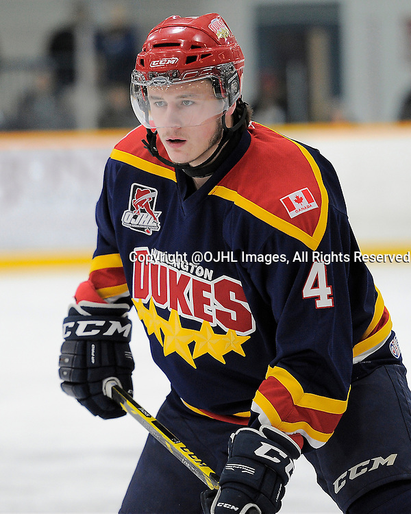 TRENTON, ON - Mar 4, 2015 : Ontario Junior Hockey League game action between the Trenton Golden Hawks and the Wellington Dukes. Game three of the best of seven series, Brody Morris #4 of the Wellington Dukes<br /> (Photo by Amy Deroche/ OJHL Images)
