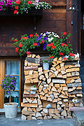 Woodpile at Swiss timber house in 18th Century Brunngasse at Brienz in Bernese Oberland, Switzerland
