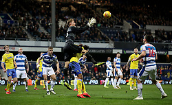 Queens Park Rangers goalkeeper Joe Lumley catches the ball in the air
