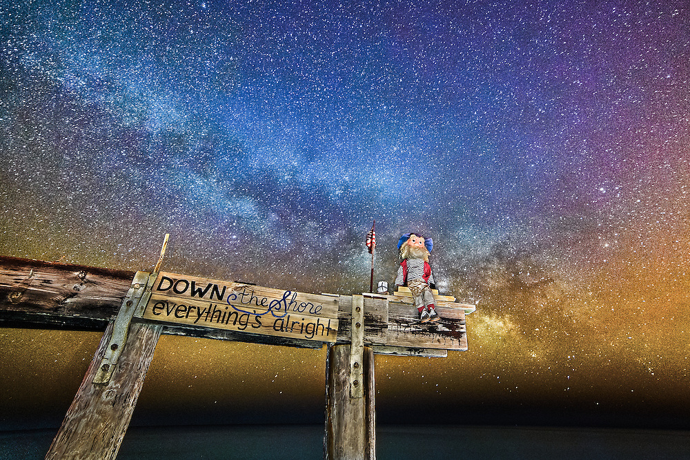 """""""Everything's Alright"""" I captured this in early spring of this year. This is what's remaining of the Ocean Grove Pier after Superstorm Sandy wrecked havok along the east coast in 2012. Ralph was placed above the pier a symbol of hope. I figured out how to capture the Milky Way in various exposure scenarios. After upgrading my pc, I decided it was time to test my editing skills on this almost impossible photo."""