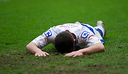 MILTON KEYNES, ENGLAND - Easter Monday, April 9, 2012: Tranmere Rovers' David Buchanan looks dejected as his side lose 3-0 to Milton Keynes Dons during the Football League One match against Milton Keynes Dons at the Stadium MK. (Pic by David Rawcliffe/Propaganda)