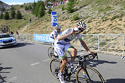 Pierre Luc Perichon and Florian Vachon (FRA) Fortuneo-Oscaro climb Col d'Izoard during Stage 18 of the 104th edition of the Tour de France 2017, running 179.5km from Briancon to the summit of Col d'Izoard, France. 20th July 2017.<br /> Picture: Eoin Clarke | Cyclefile<br /> <br /> All photos usage must carry mandatory copyright credit (© Cyclefile | Eoin Clarke)
