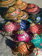 colorful conical hats on display; Damnoen Saduak; Thaiiland