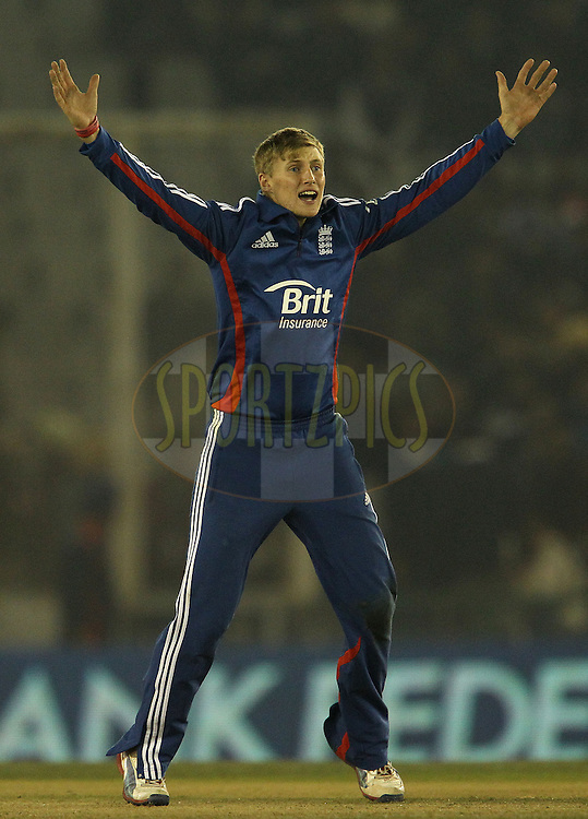 Joe Root of England appeals for the wicket of Ravindra Jadeja of India during the 4th Airtel ODI Match between India and England held at the PCA Stadium, Mohal, India on the 23rd January 2013..Photo by Ron Gaunt/BCCI/SPORTZPICS ..Use of this image is subject to the terms and conditions as outlined by the BCCI. These terms can be found by following this link:..http://www.sportzpics.co.za/image/I0000SoRagM2cIEc