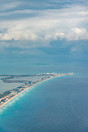 The Hotel Zone of Cancun, Mexico.