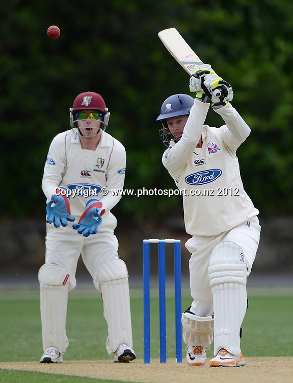 Bruce Martin batting for Auckland. Plunket Shield Cricket, Auckland Aces v Northern Knights at Eden Park outer oval. Sunday 11 November 2012. Photo: Andrew Cornaga/Photosport.co.nz
