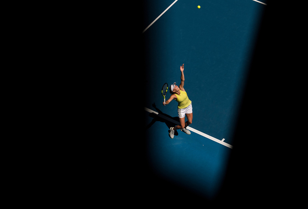 Caroline Wozniacki of Denmark on day three of the 2018 Australian Open in Melbourne Australia on Wednesday January 17, 2018..<br /> (Ben Solomon/Tennis Australia)