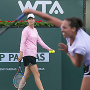 March 7, 2015, Indian Wells, California:<br /> Lindsay Davenport looks on as Madison Keys serves during a practice session at the Indian Wells Tennis Garden in Indian Wells, California Saturday, March 7, 2015.<br /> (Photo by Billie Weiss/BNP Paribas Open)