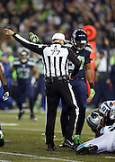 Referee Terry McAulay (77) points toward the end zone as he indicates first down after Seattle Seahawks defensive tackle Tony McDaniel (99) recovers a fumble inside the Carolina Panthers 30 yard line in the first quarter during the NFL week 19 NFC Divisional Playoff football game against the Carolina Panthers on Saturday, Jan. 10, 2015 in Seattle. The Seahawks won the game 31-17. ©Paul Anthony Spinelli