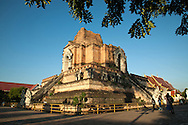 "Wat Chedi Luang ""temple of the big stupa"" is a Buddhist temple in the historic center of Chiang Mai. King Saen Muang Ma began building Phra Chedi Luang to enshrine the relics of his father at the end of the 14th century - its chedi was originally 90 meters high before it was partly destroyed in an earthquake in 1545 and was the tallest structure in Chiang Mai for over 500 years."