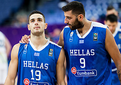 Ioannis Papapetrou of Greece and Ioannis Bourousis of Greece look dejected after the basketball match between National Teams of Slovenia and Greece at Day 4 of the FIBA EuroBasket 2017 at Hartwall Arena in Helsinki, Finland on September 3, 2017. Photo by Vid Ponikvar / Sportida