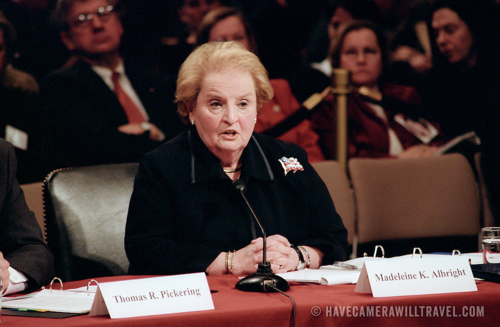 Madeleine Albright, Former Secretary of State, testifying at the 9/11 Commission's Public Hearing Number 8 on Tuesday, 23 March 2004.
