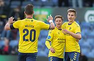 FODBOLD: Kamil Wilczek og Mikael Uhre (Brøndby IF) jubler med målscorer Dominik Kaiser efter scoringen til 2-0 under kampen i Superligaen mellem Brøndby IF og FC Nordsjælland den 13. maj 2019 på Brøndby Stadion. Foto: Claus Birch.