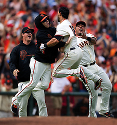 Matt Cain, Tim Lincecum, Angel Pagan, and Hector Sanchez, 2012 World Series Champion Giants